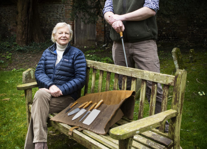 Susan and her Yew carving set